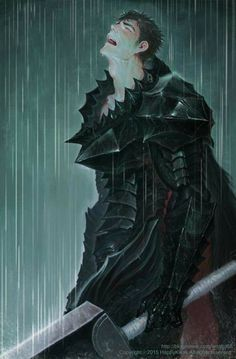 Fucking Miura, fucking hiatus and fucking Griffith #Guts #screaming #under #rain #berserk #armor #dragonslayer #wallaper #sad #color