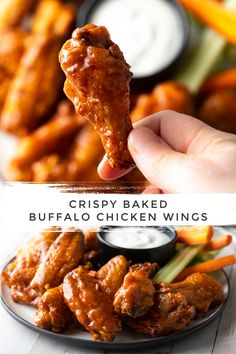 Crispy Baked Buffalo Wings Recipe: Learn How to Make the BEST Baked Chicken Wings in the Oven! This Hot Wings Recipe + Sauce is SO delicious! Oven Hot Wings, Oven Baked Wings, Wings In The Oven, Crispy Baked Chicken Wings, Baked Hot Wings Recipe, Hot Ones Wings Recipe, Baked Buffalo Wings, Crispy Buffalo Wings Recipe, Hot Wing Sauces