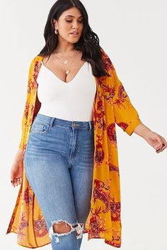 22 Kimono Outfits Plus Size Women can beautifully wear Mode Top, Mode Plus, Forever 21, Shop Forever, Plus Size Dresses, Plus Size Outfits, Skirt Fashion, Fashion Outfits, Fashion Styles