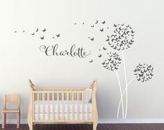 Personalised Dandelion Butterflies Wall Art by UrbanArtworkStore