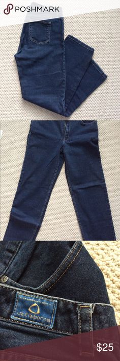 Liz Claiborne Straight Leg Petite Jeans Mom jeans coming right at ya!   These are super comfy and would definitely help you achieve a vintage look.   Please not they are a Size 10P. Liz Claiborne Jeans Straight Leg