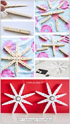 Clothespin Snowflake - 20 Genius DIY Recycled and Repurposed Christmas Crafts - Diy and crafts interests Diy Christmas Ornaments, Christmas Projects, Kids Christmas, Holiday Crafts, Christmas Decorations, Simple Christmas, Christmas Cookies, Summer Crafts, Fall Crafts