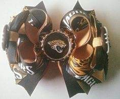 Jacksonville Jaguar Boutique Hairbow, Jaguar Hair Bow, Sports Hairbow by JazzyandSassyDesigns on Etsy