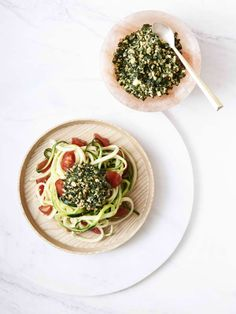 Raw Zucchini Pasta with Basil, Walnut and Kale Pesto: CSA and Juice for April 16th – Drown your tax woes in veggies | Something Good
