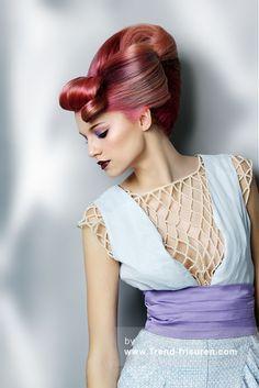 TPL FRISEUR Lange Rosa weiblich Gerade Farbige Multi-tonalen Lautstärke Plastische Hochsteckfrisur Frauen Frisuren hairstyles