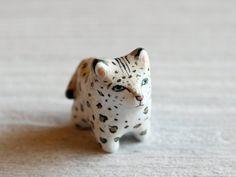 Snow Leopard pocket totem figurine by HandyMaiden on Etsy