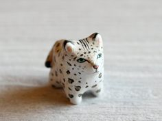 Snow Leopard pocket totem figurine by HandyMaiden on Etsy