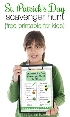 Patrick's Day Scavenger Hunt Looking for an idea for a fun activity to celebrate St. Patrick's Day with your kids? Enjoy this FREE printable St. Patrick's Day Scavenger Hunt game for Kids from Food Fun Family! Desserts Valentinstag, Easter Party Games, Toddler Party Games, Birthday Games, St Patricks Day Crafts For Kids, St Patrick's Day Crafts, Kids Crafts, St Patrick Day Activities, Party