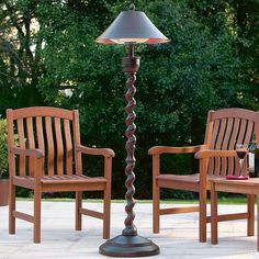 Weather-resistant outdoor heater disguised as a handsome floor lamp.