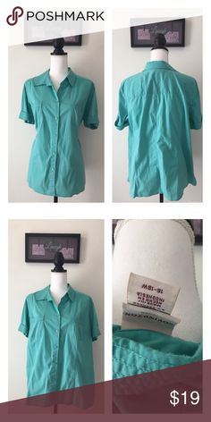 "Covington women's sz 16-18 Teal button down Blouse Gently used I've noticed no flaws. Each picture shows details.                               •••••••••••••••••••••••• ** Payment : 24-48 hours.   ** Shipping  : 1 business day. Payments  12 PM PT ships same-day   ** Mannequin Dimensions : Chest (34"") x Shoulders (15"") x Waist (27"") x Hips (35.4"") x Neck (12.5"") Covington Tops Button Down Shirts"