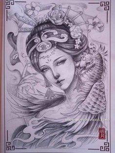 黑灰艺妓与凤凰纹身手稿