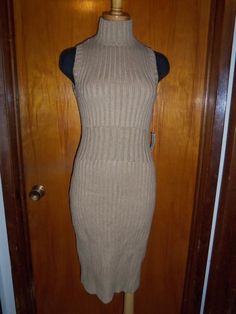 Victoria's Secret Moda International Tan Turtleneck Ribbed Sweater Dress M NWT #ModaInternational #SweaterDress #WeartoWork