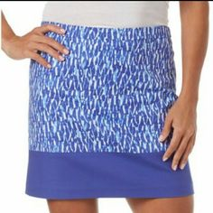 "Michael Kors Skirt Beautiful Blue/White Skirt. SIZE 16.  Zipper and hook closure in the back.  Fully lined. 18"" Long 19 1/2 inches wide 98%Cotton 2%Elastane  Brand New with tags. MICHAEL Michael Kors Skirts Mini"