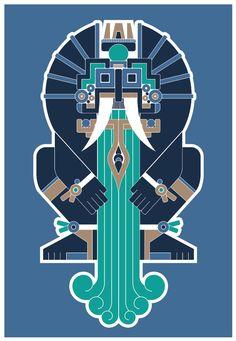 Pachpodeka!: Tlaloc - Prehispánica Series Arte Tribal, Tribal Art, Aztec Religion, Mayan Glyphs, Mexican Artwork, Mexico Art, Mesoamerican, Aztec Designs, Indigenous Art