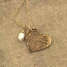 VINGERAFDRUK brons en 14 k gouden gevuld ketting door MayaBelle