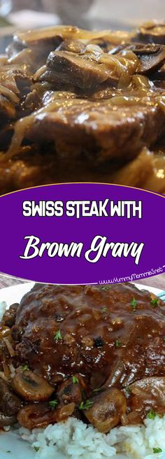 Swiss Steak with Brown Gravy Via dinner time recipe of the day recipe ideas dinner recipes easy dinner recipes for family dinner Salbury Steak Recipes, Beef Recipes For Dinner, Crockpot Recipes, Easy Casserole Recipes, Easy Recipes, Healthy Recipes, Easy Salisbury Steak, Kids Cooking Recipes, Kids Meals