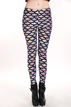 Hot 2016 Women's Custom Leggigs Digital Printing Rainbow Mermaid Leggings Elastic Sexy Pants Waist Type: Mid Fabric Type: Knitted Material: Polyester Material: Spandex Brand Name: t Model Number: S106
