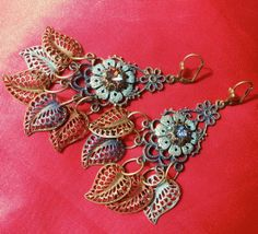 Long Chandelier Earrings with Patina Brass Leaves by MaisonMilli, $35.00