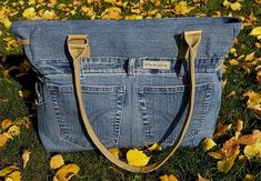 Handmade denim bag spacious jeans bag plenty of space gift Denim Bag, Denim Jeans, Recycle Jeans, Unique Bags, Artificial Leather, Bag Making, Gifts For Women, Street Style, Space