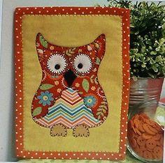 Happy Hoot Owl Mug Rug Pre-cut Applique Kit, Sewing Kit , Sewing Quilt Kit