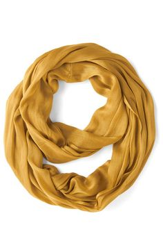 Brighten Up Circle Scarf in Mustard - Yellow, Solid, Casual, Variation, Chiffon, Woven, Basic, Fall, Work, Top Rated