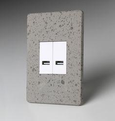 LUMEN8 Sockets   FINISH: Concrete SOCKET: Modular 2 USB chargers