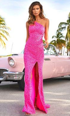 Pink Formal Dresses, Cute Prom Dresses, Pink Prom Dresses, Strapless Dress Formal, Prom Gowns, Bright Pink Dresses, Pink Sequin Dress, Fitted Prom Dresses, Sherri Hill Prom Dresses
