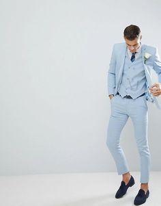 ASOS DESIGN wedding skinny suit pants in soft blue cross hatch Mens Fashion Suits, Mens Suits, Terno Slim Fit, Cool Tuxedos, Blue Suit Men, Pastel Blue Mens Suit, Costume Slim, Tuxedo Shoes, Formal Men Outfit