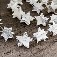Since Pack of 4 Book Pages Recycled Book Garland Newspaper Star Garland Bunting Party Holiday Christmas Nursery Banner Wedding Garland Decor
