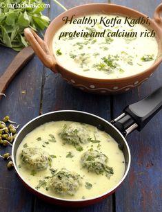 kofta kadhi recipe | healthy kofta kadhi | sprouted moong dal kofta in Gujarati kadhi | Veggie Recipes, Indian Food Recipes, Asian Recipes, Vegetarian Recipes, Snack Recipes, Tasty Snacks, Cooking Recipes, Healthy Recipes, Veggie Food