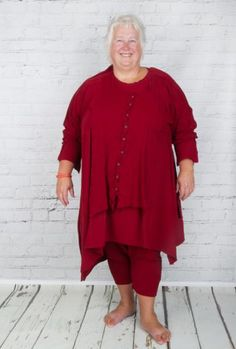 #Rundholz double layer button down the front #dress in bright #Aperol #Red worn with matching #leggings