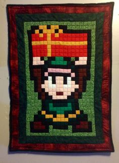 Christmas Link 8 bit quilted wall hanging.  Legend of Zelda.