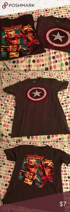 GOTG/Captain America T-Shirt Set Each shirt is a men's small. Fabric is soft. Perfect for pajamas or casual wear. Both shirts included. Marvel Tops Tees - Short Sleeve