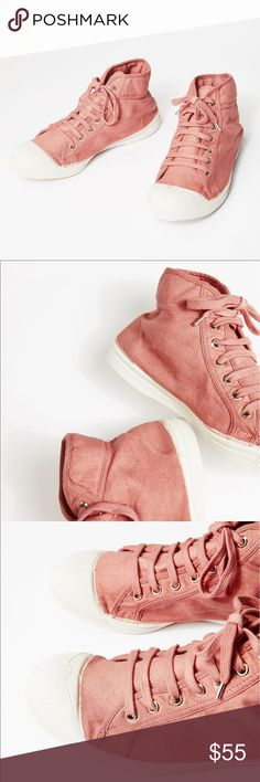 """NEW Free People / Bensimon 👟 Mid Tennis Shoes Please see additional description in above pics! These luxurious and iconic tennis shoes will become your new favs. Purchased from Free People (now totally sold out everywhere!), Bensimon has paired with Free People, Madewell, etc in the past, and sell out every time! Awesome dusty pink/rose/mauve color. 👟French sizing: 37/38 = US 6.5/7.5 👟Shaft measures approx 5"""" from arch 👟100% cotton washed canvas, rubber sole 👟Lightly padded top line…"""
