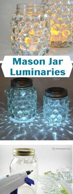 DIY Mason Jar Luminaries gente na parte da cola quente coloquem cola universal