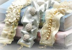 my hand made girly romantic bracelets with vintage bling
