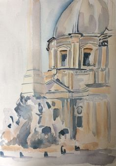 Piazza Navona, Italy. Watercolour by Marcus Dryland