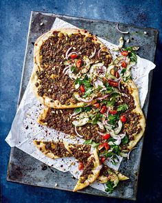 Lahmacun is a traditional Middle Eastern flatbread recipe that is also known as Turkish Pizza. We've topped our version with beef mince, spices and toasted pine nuts.