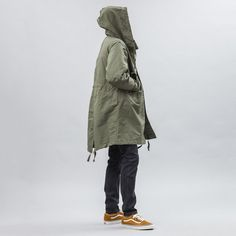 Engineered Garments Highland Parka in Olive Double Cloth Side View