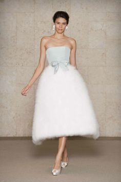 Oscar de la Renta blue silk faille bodice dress with ivory swansdown skirt. Via The Cinderella Project.