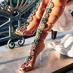 AZMODO Rhinestone Stiletto Heel Strappy Buckle Dress Sandals