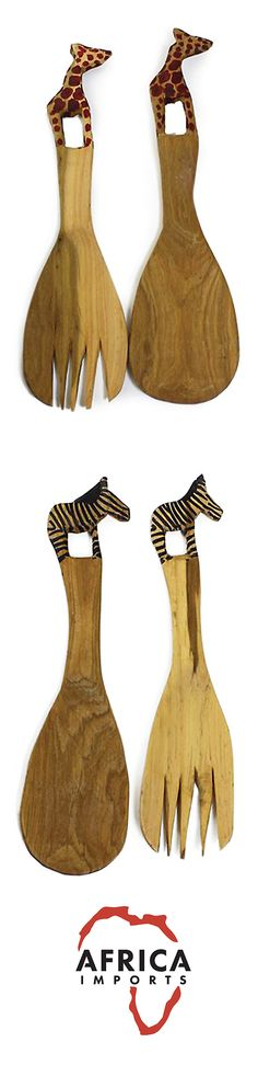 Hand Carved African Animal Wooden Salad Sets - Africa Imports - Beautifully hand carved African wooden salad spoons perfect for the African style kitchen or as a hostess gift!  Gives quite an exotic touch to your diner table, and will earn many compliments. This is carved from wood from the Jacaranda tree. Hand-designed in Kenya. #africa #decor #africandecor #africanstyle #africananimals #hostessgift #giftit #woodcarving #handcarved #homedecor