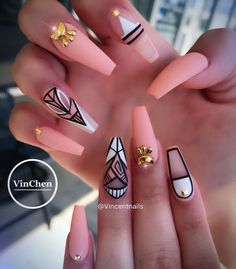 Are you looking for peach acrylic nails design? See our collection full of peach acrylic nails designs and get inspired! Peach Acrylic Nails, Cute Acrylic Nails, Acrylic Nail Designs, Nail Art Designs, Nails Design, Peach Nails, Salon Design, Glam Nails, Dope Nails
