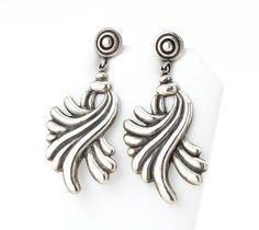 Los Castillo Sterling Silver Old Taxco Screw Back Dangle Earrings #Taxco