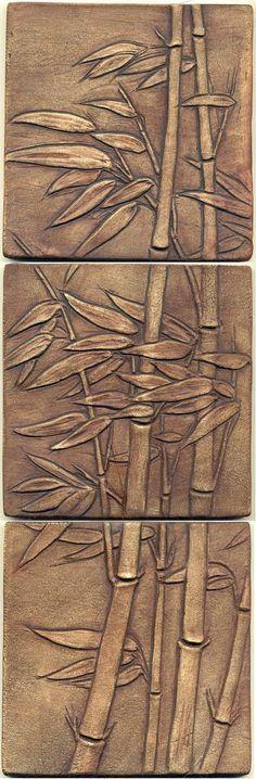Asian style Windblown Bamboo Tiles Set of 3 by RavenstoneTiles