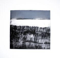 Landscape Prints, Abstract Landscape, Polar Bear Illustration, Drypoint Etching, Collagraph, North Sea, Modern Art Prints, Linocut Prints, Gravure