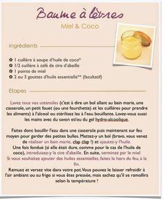 Recette de baume à lèvres fait maison très facile et économique au miel et à l'huile de coco