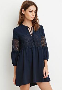 Floral Crochet Babydoll Dress | Forever 21 - 2000147373