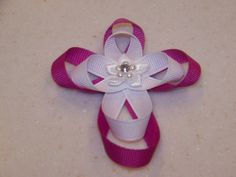 Ribbon Sculpture Cross Hair Clip With Flower and Crystal Center - Double Layer Ribbon Crafts, Ribbon Bows, Ribbon Hair, Kids Hair Bows, Making Hair Bows, Bow Making, Ribbon Sculpture, Diy Bow, Diy Hair Accessories