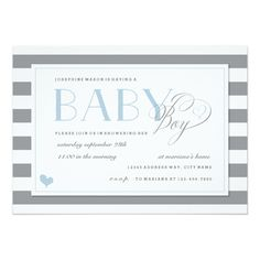 Gray and White Stripe Baby Boy Shower Blue Accents 5x7 Paper Invitation Card